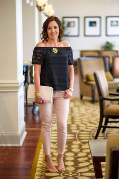 Spring/Summer Date Night Outfit with Pink Jeans