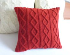 Custom hand knit pillow case red carmine pillow by AdorablewaresKnitting Patterns Pillow This custom navy blue pillow cover has a cable stitch design on front as well as on back, using a ri…This tradition navy blue pillow cowl has a cable sew desig Knitted Cushion Covers, Crochet Pillow Cases, Knitted Cushions, Knit Pillow, Knitted Throws, Navy Blue Pillows, Red Throw Pillows, Couch Pillows, Handmade Pillows
