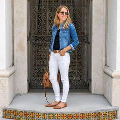 Denim jacket, white jeans