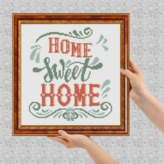 Home sweet home cross stitch pdf pattern modern cross stitch Easy Counted Chart diy Modern Cross Stitch, Cross Stitch Charts, Cross Stitch Patterns, Cross Stitching, Cross Stitch Embroidery, Black And White Printer, Pc Cases, Dmc, Le Point