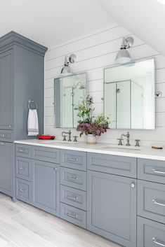 gray cabinets in the master bathroom