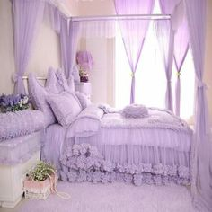 Cinderella Style Lovely Dot And Heart Pattern Cotton Duvet Cover Sets Room Ideas Bedroom, Bedroom Decor, Bed Rooms, Lace Bedroom, Dream Bedroom, Shabby Chic Girl Room, Lavender Room, Purple Bedrooms, Rustic Chic Decor