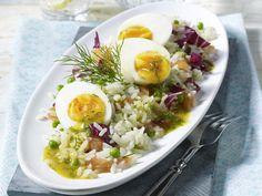 Reissalat mit Lachs in Honig-Senf-Soße