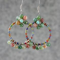 Stone Flower Dangling Hoop Earrings Handmade Free USA Shipping Anni Designs | eBay