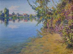 Bord d'une île de Seine à Poses Oeuvre de Michèle Ratel 65 X 50 (15P)