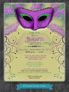 Masquerade or Mardi Gras Party Invitation - Flashy Design - Gold, Purple and Black