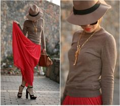 red maxi skirt, Daily street style ideas http://www.justtrendygirls.com/daily-street-style-ideas/