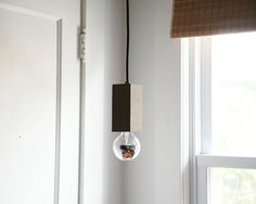 Mid Century Inspired Modern Geometric Black Walnut Pendant