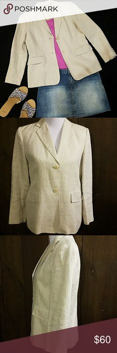 """Talbots cream linen blazer Talbots cream linen blazer measures 38"""" bust 34"""" waist 22"""" sleeves and is 24"""" long. It is fully lined and looks great with dresses, shirts, pants, capris even shorts or jeans...from business to casual this jacket is a great wardrobe plus! In excellent like new condition! Talbots Jackets & Coats Blazers"""