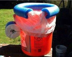 The deluxe camping toilet for the ladies. $7 bucket, $3 pool noodle, a garbage bag and the handle will even hold your toilet roll. What more could any camper want? Will this give your camping trip the edge it needs to create that 5 star camping resort?