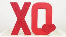 Red XO Valentines Day Decoration - Glittered Letters Hearts - Holiday Home Decor