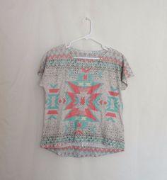 Do Not Disturb Brand Large Mint Green Coral Pink Aztec Print Hi Low Trendy Shirt #DoNotDisturb #KnitTop #Casual