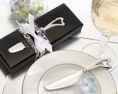 Chrome Cheese Spreader with Heart-Shaped Handle from Wedding Favors Unlimited