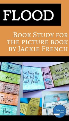 Flood by Jackie French - a picture book study for middle grades students examining reader responses, personification, what is a hero and art styles. Includes interactive notebook activities, worksheets, task sheets and task cards