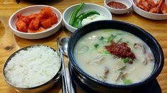 순대국, Sundaeguk Korean blood sausage soup!  Yes! I want pig organ. Sundae is Korean style of sausage. Sundaeguk is soup with Korean sausage. Why this food is popular? It has been for ordinary person's food by its cheap price with good quality of nutrition.   When you visit this.restaurant, you should say 'One Sundaeguk please' 'refil the soup please' 'I want more peppers' 'More ggakddugi(cubed) radish kimch please. So on...   How to eat?  A. Mix red pepper paste with organs B. Put rice into…