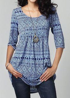 Women Ladies Fashion Geometry Printed Three Quater Sleeves T Shirt Tops Tee