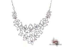 Ladies Butterflies Diamond Necklace 20599 Ladie's Diamond Necklace White Gold 14k Round Cut 5.15 ct - TraxNYC.com