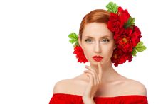 Trendy Flowers In Hair Red Redheads Girls With Flowers, Flowers In Hair, Flower Girls, Red Flowers, Red Off Shoulder Top, Red Dress Makeup, Hair Rainbow, Rose Bun, Girl Face