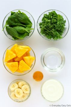 This nourishing Green Superfood Smoothie is the perfect way to start your day A delicious energizing shake made with kale spinach pineapple banana Greek yogurt and honey Kale And Spinach Smoothie, Spinach Smoothie Recipes, Healthy Green Smoothies, Easy Smoothies, Healthy Detox, Healthy Drinks, Pineapple Kale Smoothie, Kale Juice Recipes, Kale Drink