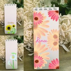 Just added today! Personalized, spiral-bound notepads with beautiful flowers. You pick the font! Buy more and save! Extra sturdy covers with rounded edges. Custom Stationery, Personalized Stationery, Personalized Note Cards, Teacher Gifts, Enchanted, Spiral, Beautiful Flowers, New Baby Products, Envelope