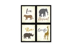 Jungle animals NURSERY DECOR  Elephant Giraffe Lion Rhino