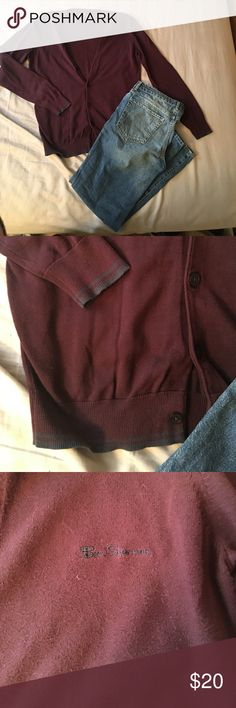 Ben Sherman Signature Cardigan Hardly worn but loved maroon cardigan. Navy trim around wrists and bottom of sweater like new. Ben Sherman Sweaters Cardigans