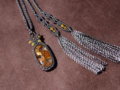 ゴールデンルチルクォーツ×エチオピアオパール/天然石シルクネックレス - 天然石アクセサリー通販 ARTEMANO(アルテマノ)
