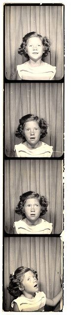 ** Vintage Photo Booth Picture **  Little girl on her way out after 3 flashes.