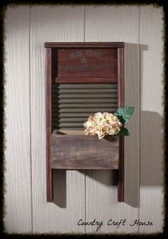 Primitive Country Farmhouse Chic WASHBOARD PLANTER Wall Box Laundry Room Sign