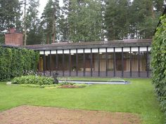 View from inside the courtyard of Alvar Aalto's Saynatsalo Town Hall, Finland, 1952.