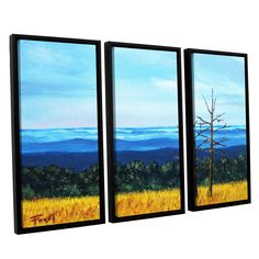 Serene Mountain Tops by Gene Foust 3 Piece Floater Framed Painting Print on Canvas Set