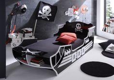 PIRAT Kinderbett 90 x 200 cm schwarz/weiß