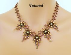 Beading tutorial instructions - beadweaving pattern beaded seed bead jewelry - DRAGON's TALONS beadwoven necklace - beadwork