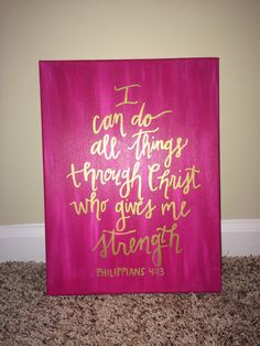 This listing is for a beautiful hand painted canvas featuring the verse of Philippians 4:13 - I can do all things through Christ who gives me strength. Custom verses/wording available as well, since this will be made to order just for you!  This is your custom piece to create exactly how youd like! Please note the colors, words, accents and any other ideas you have in the notes upon checkout and I will be honored to create the piece you have envisioned.  Three sizes available for you to…