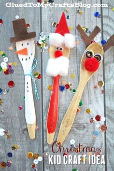 Wooden Spoon Christmas Friends - Kid Craft Idea