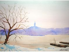 Winter, original watercolor painting Watercolor Paintings, Landscapes, My Arts, The Originals, Winter, Paisajes, Winter Time, Scenery, Watercolor Drawing