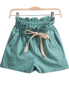 Green Elastic Waist Pockets Shorts 21.00
