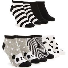 Forever 21 Women's  Mixed Panda Ankle Socks Pack ($5.90) ❤ liked on Polyvore featuring intimates, hosiery, socks, cushioned socks, forever 21, short socks, padded ankle socks and tennis socks