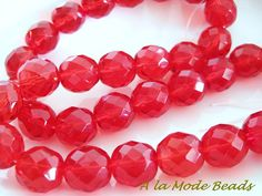 12MM Light Red Czech Fire Polished Rounds Faceted by AlaModeBeads