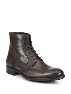 Saks Fifth Avenue Collection - Saks Fifth Avenue by Magnanni Burnished Leather Wingtip Boots