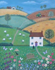 Original Mixed Media Canvas - A Lovely Place to Live Cottage Art, Country Art, Naive Art, Mixed Media Canvas, Art And Illustration, Landscape Art, Painting Inspiration, Kitsch, Art Pictures
