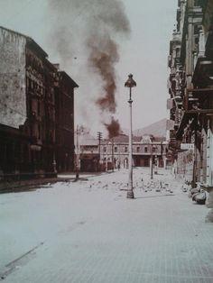 Calle Uria y estación del norte en oviedo(octubre 1936) bajo el asedio republicano