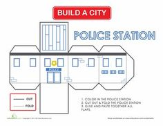 Here& a project you can share with your child, building a city together! Every city needs a police station, and she can color, cut and fold this herself. People Who Help Us, House Template, Paper Towns, Police Station, Paper Houses, Paper Models, Model Trains, School Projects, Worksheets