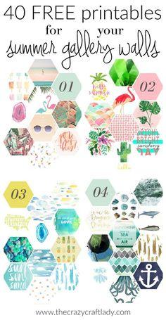40 GRATUIT pour printables murs de la galerie d'été - L'été est là! Échangez les images dans vos murs de la galerie avec ces 40 FREE printables. Utilisez-les dans DIYs, artisanat, décoration de la maison ou cet été!