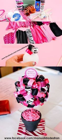 could craft and use this little ribbon tree in any color and pattern combo for any holiday/celebration