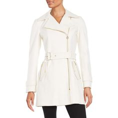 Michael Michael Kors Asymmetric Wool-Blend Trench ($156) ❤ liked on Polyvore featuring outerwear, coats, ivory, asymmetrical zip coat, trench coat, asymmetrical trench coat, white wool blend coat and winter white trench coat