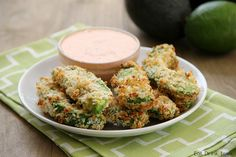 Baked Avocado Fries with Chipotle Ranch Dipping Sauce These turned out amazing!!  Such an easy, yummy snack/meal! Instead of the ranch dipping sauce, I used some fresh salsa I had on hand, delish!