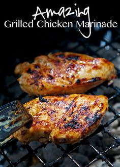 Amazing Grilled Chicken Marinade Recipe - chicken marinated in a mixture of vinegar, dijon, lemon and lime juice and brown sugar. Sweet and tangy in every bite! It is truly amazing. We ate this two nights in a row. Everyone gobbled it up.