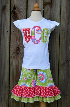 Personalized Initial Applique Shirt or Onesie by PixieStitchLLC, $25.00