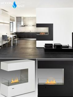 Build a trhee-sided fireplace into the dividing wall between your kitchen and living room with eco-feu ventless ethanol firepolace!